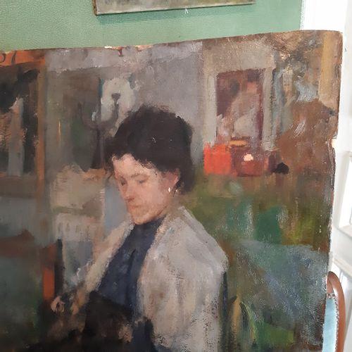 Olga BOZNANSKA (1865 1940) Autoportrait présumé dans l'atelier Huile sur carton …