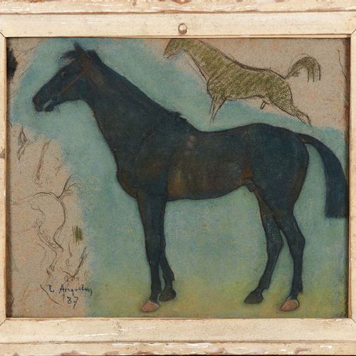 LOUIS ANQUETIN (1861 1932) Étude de chevaux, 1887 Pastel, signé et daté 87 en ba…