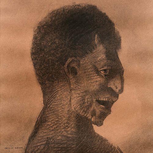 Odilon REDON (1840 1916) Le satyre au cynique sourire Dessin au fusain et à l'es…