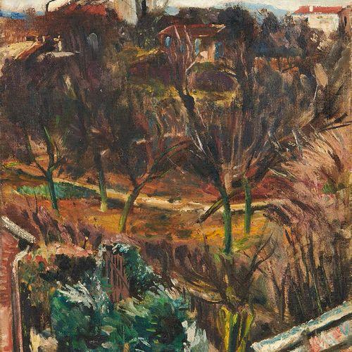 Lucien ADRION (1889 1953) Jardins de banlieue Huile sur toile, signée en bas à d…