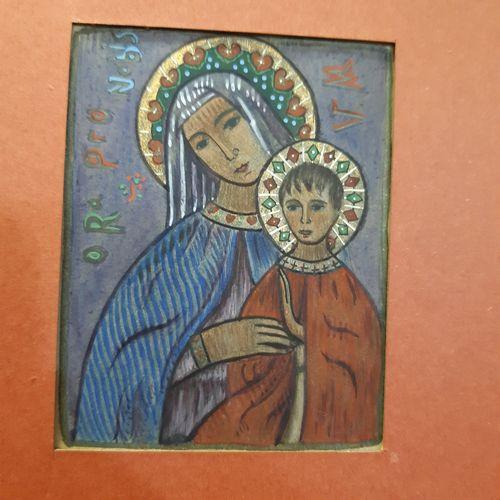 Charles FILIGER (1863 1928) Vierge à l'enfant, Ora pro Nobis, 1894 Gouache sur f…