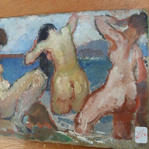 Rodolphe BOLLIGER (1878 1952) Tombereau attelé, 1905 Les baigneuses Huile sur ca…
