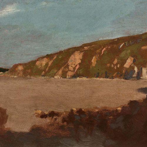 Odilon REDON (1840 1916) Les falaises à marée basse Huile sur papier marouflé su…