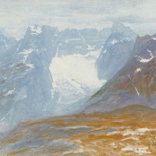 Sigismond JEANES (1862 1952) Au sommet de la montagne, les Dolomites (?) Aquarel…