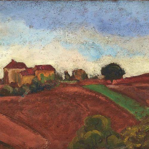 André UTTER (1886 1948) Les pressoirs en Beaujolais, 1921 Huile sur carton contr…