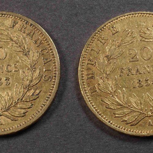 2 pièces de 20 F or 900°/°°° Nap III, tête nue, 1853A et 1854A. Poids : 12,80 g.…