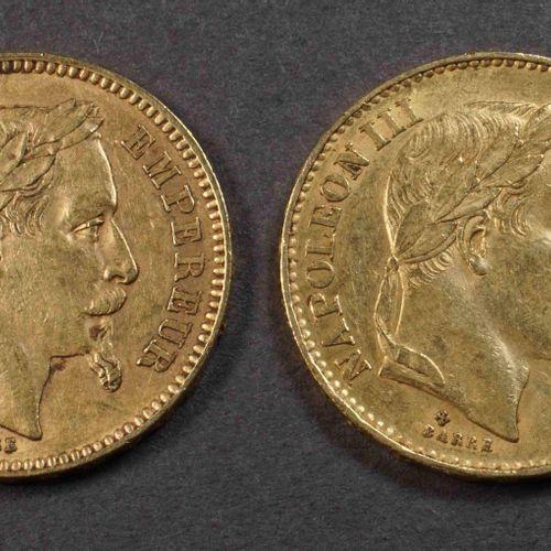 2 pièces de 20 F or 900°/°°° Nap III, tête laurée, 1862A et 1869BB. Poids : 12,8…
