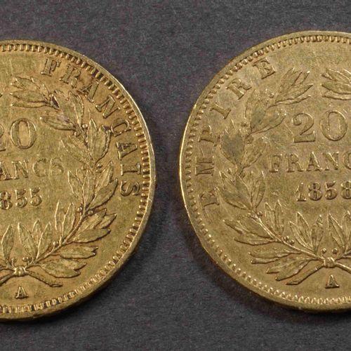 2 pièces de 20 F or 900°/°°° Nap III, tête nue, 1855A et 1858A. Poids : 12,80 g.…
