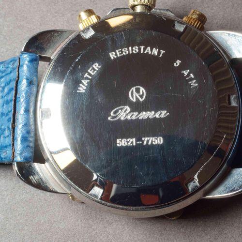 RAMA Chronographe en acier inox et or jaune, réf. 5621. Cadran bleu 36 mm, trois…