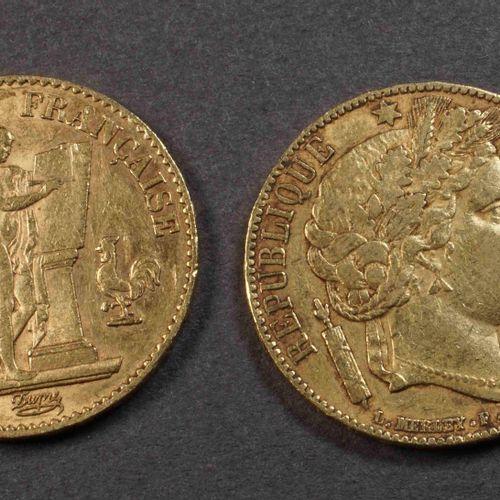 2 pièces de 20 F or 900°/°°°, dont 1 Cérès 1851A et 1 au Génie 1874A. Poids : 12…