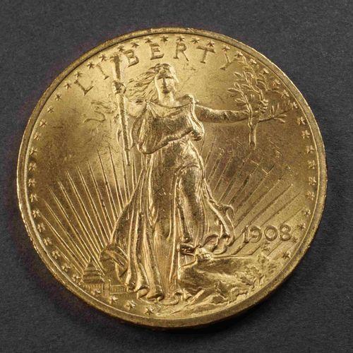 Pièce de 20 US $ or 900°/°°° Liberty 1908. Poids : 33,40 g. Lieu de dépôt : MAGA…