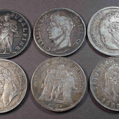 Ensemble de 6 pièces (5 x 5 F et 1 x 5 lires argent) comprenant : Gaule subalpin…