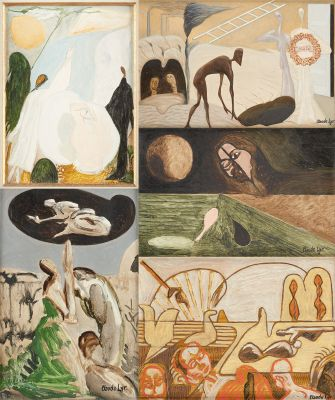 Claude LYR École belge (1916 1995) Huiles sur panneau (lot de cinq): Voyages.  S…