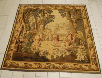 AUBUSSON Tapisserie: Le jeu de colin maillard.  Dim.: 250 x 256 cm.