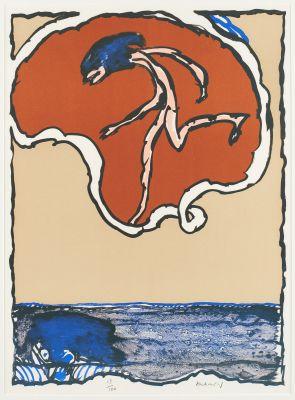 Pierre ALECHINSKY École belge (1927) Estampe, lithographie en couleurs sur papie…