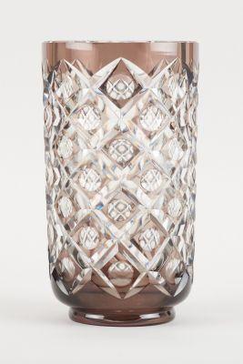 Val Saint Lambert. D'époque Art déco. Verrerie: Vase en cristal clair taillé dou…