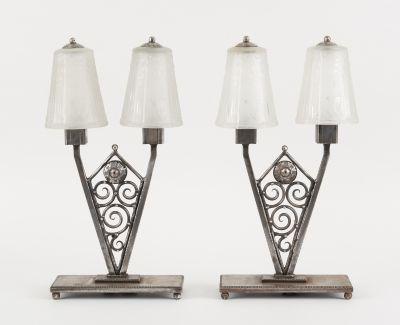 MULLER (École française). Luminaire: Lot se composant de deux lampes de table à …