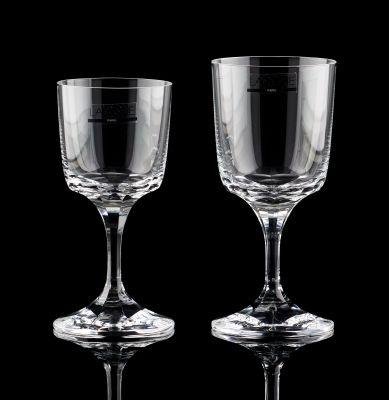 """Lalique (École française). Verrerie: Service de verres en cristal """"Chenonceaux"""",…"""