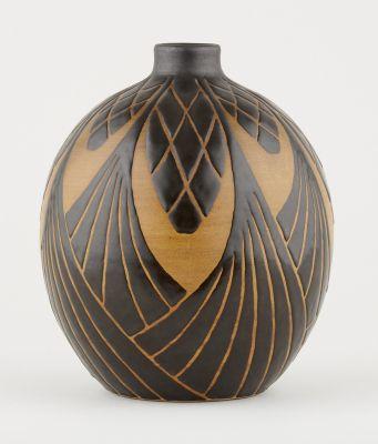 Charles Catteau Keramis. Ceramics: Vase of ovoid shape with Africanist decoratio…
