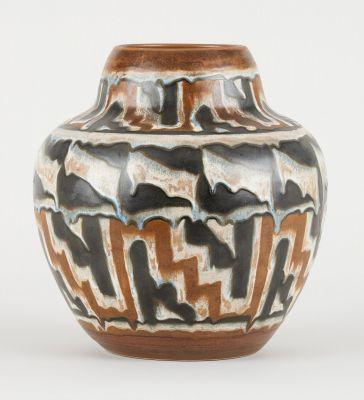 Charles Catteau Keramis. Ceramics: Glazed stoneware vase with stylized Africanis…