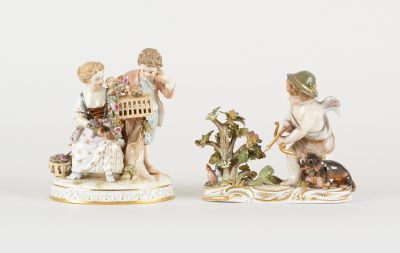 Meissen 19e. Ceramics: Lot consisting of two groups of polychrome porcelain with…
