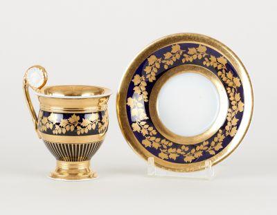 Bruxelles ou Paris 19e. Ceramics: Suite of fourteen white porcelain cups and eig…