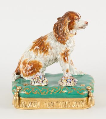 Jacob Petit, Paris. Ceramic: Inkwell in polychrome porcelain with a springer spa…