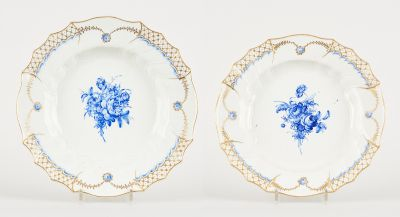 Tournai. Ceramics: A suite of two large dishes in soft paste porcelain with a ce…