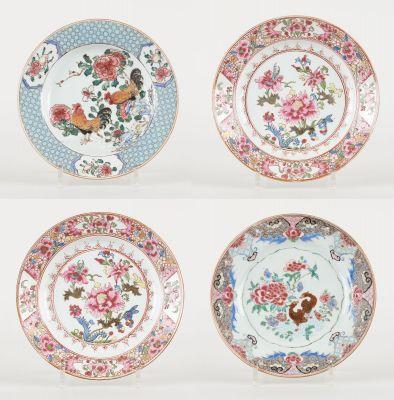 Travail chinois des 18e et 19e. Ceramics: Set of four polychrome porcelain plate…
