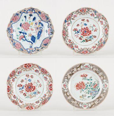 Travail chinois des 18e et 19e. Ceramics: Suite of four polychrome porcelain pla…