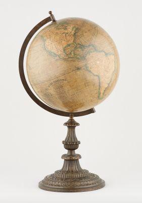 Lebègue et Compagnie. Instrument scientifique: Globe terrestre sur pied de métal…