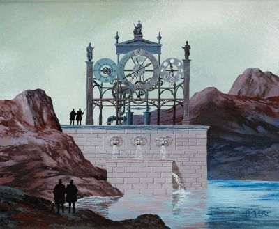 "Gaston BOGAERT École belge (1918 2008) Oil on board: ""The Astrological Clock.""  …"