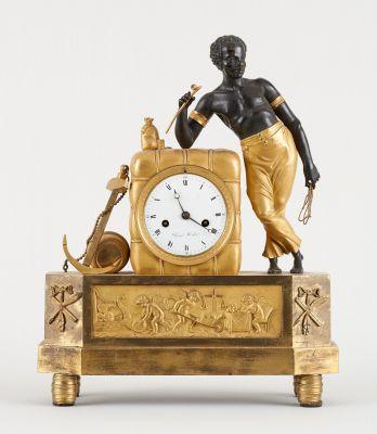Pierre Huber, travail début 19e. Clockwork: Two patina bronze table clock, known…