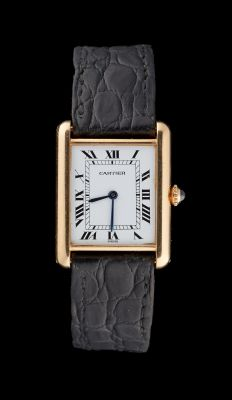 CARTIER. Watchmaking: Yellow gold men's watch strap with mechanical winding mech…