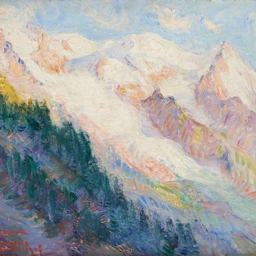 "Georges MORREN École belge (1868 1941) Oil on panel: ""Le Mont Blanc"".  Signed an…"