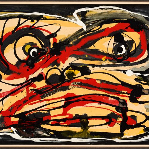 Antonio SAURA École espagnole (1930 1998) 画布上的丙烯:面部。  作者:安东尼奥 索拉,约1986年。  作品转载于J…
