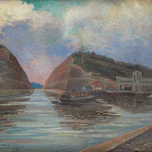 Edouard MASSON École belge (1881 1950) Huile sur toile: Le canal.  Signée et dat…