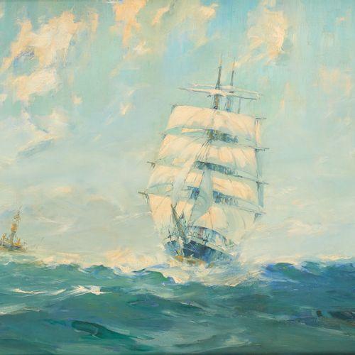 """Louis ROYON École belge (1882 1968) Huile sur toile: """"Le trois mâts Craigisla en…"""