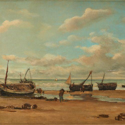Félix COGEN École belge (1838 1907) Huile sur toile: Barques échouées sur le sab…