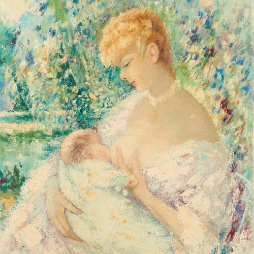 Marguerite AERS École belge (1918 1995) Huile sur toile: Mère allaitant son enfa…
