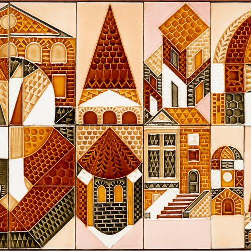 """Roger CAPRON École française (1922 2006) Céramique: Bas relief """"Village orthodox…"""