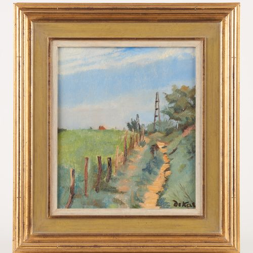 Anne Pierre DE KAT École belge (1881 1968) Huile sur panneau: Le chemin creux.  …