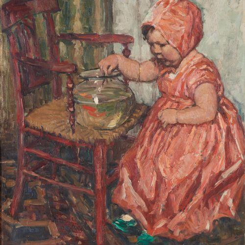 Albert GEUDENS École belge (1869 1949) Huile sur toile: L'enfant au poisson roug…