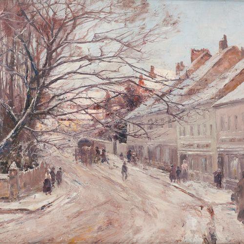 Joseph Charles FRANÇOIS École belge (1851 1940) Huile sur toile: Rue animée sous…