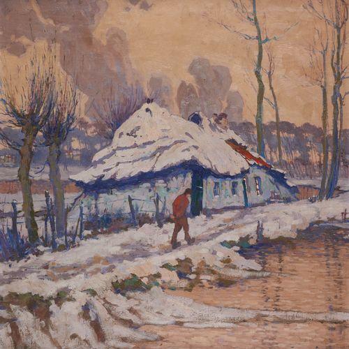 """Pol VAN DE BROECK École belge (1887 1927) Huile sur toile: """"Effet de neige"""".  Si…"""