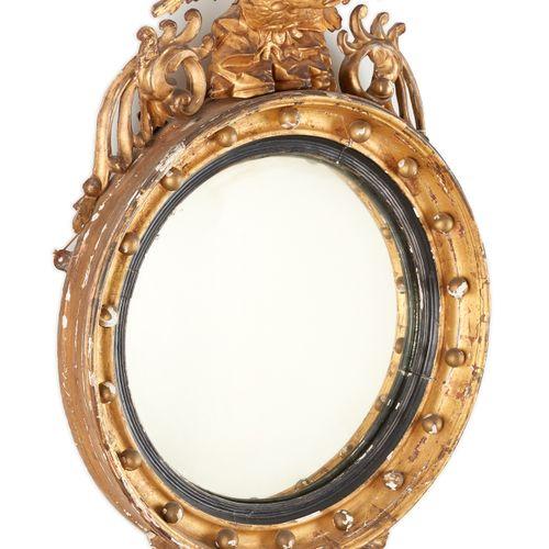 """D'époque Napoléon III. Meuble: Miroir, dit """"Sorcière"""" en bois doré et patiné noi…"""