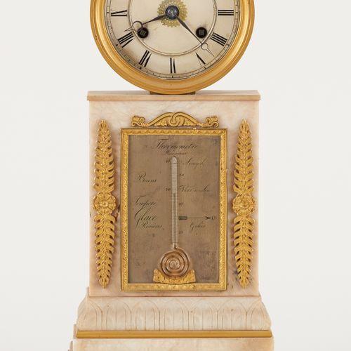 D'époque Empire. Horlogerie: Pendule en albâtre avec thermomètre réaumur, cadran…