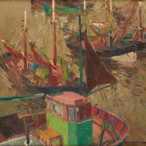 Luc KAISIN École belge (1901 1963) Huile sur toile: Barques de pêche au port.  S…