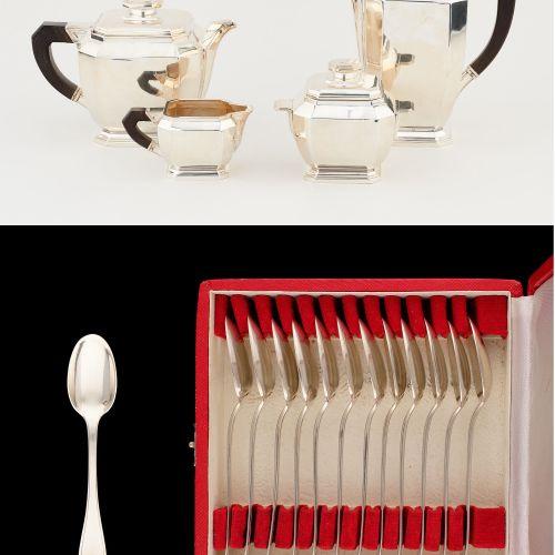 Travail français, d'époque Art Déco. Argenterie: Service à café et à thé en arge…