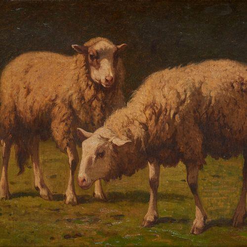 Louis ROBBE École belge (1806 1887) Huile sur toile: Deux moutons.  Monogrammée:…